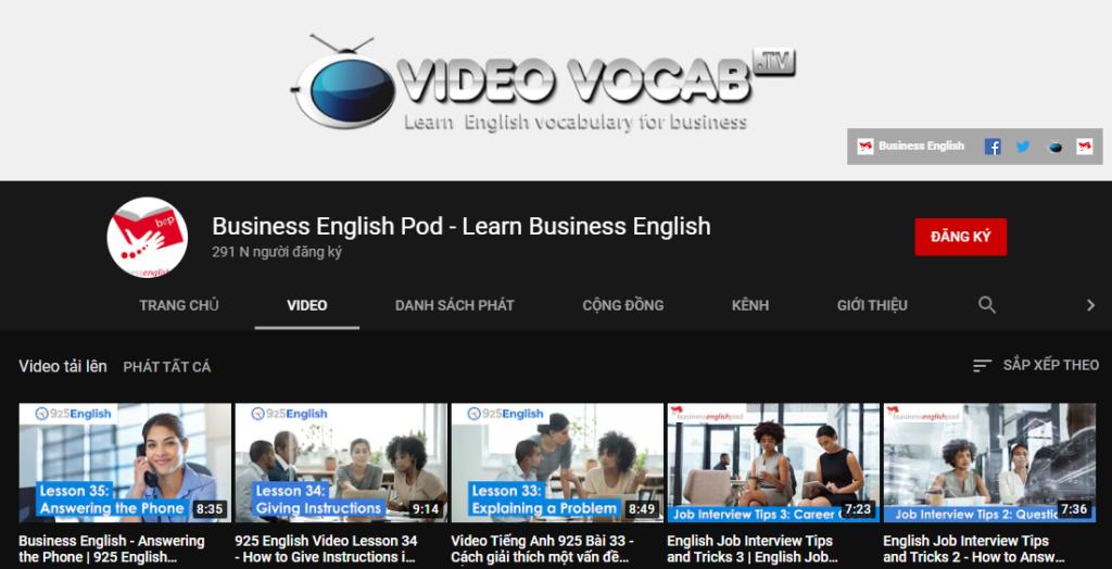 Kênh Youtube Business English Pod