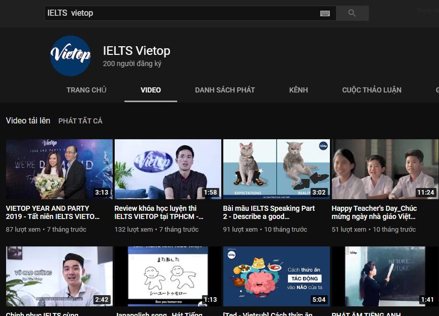 Kênh Youtube IELTS Vietop