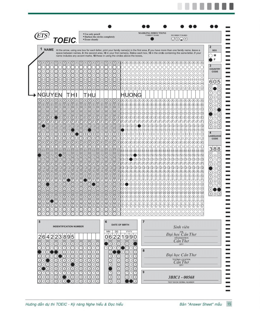 Mẫu TOEIC Answer Sheet 2020
