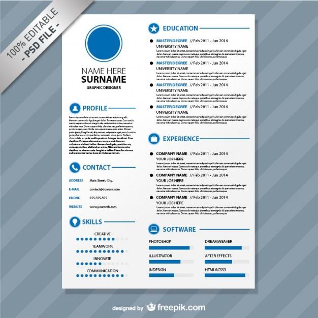 Flat resume simple blue