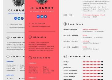 Free Clean interactive resume Template for Girls