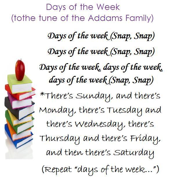 """Lời bài hát """"Days of the week song"""""""